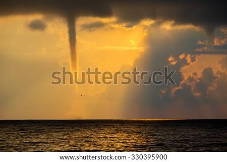 Tornado over Black Sea. The coast of Tuapse. - stock photo