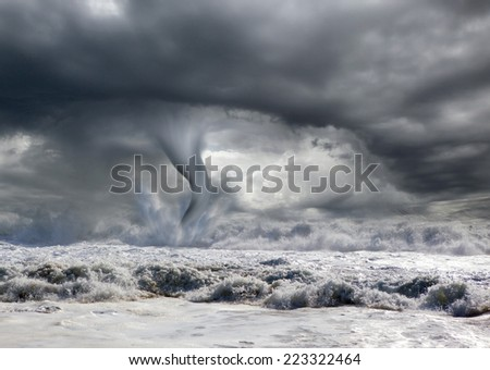 tornado over the sea - stock photo