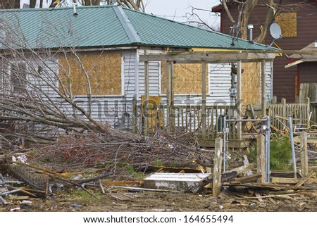 Tornado Storm Damage XI - Catastrophic Wind Damage from a Midwest Tornado - stock photo