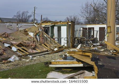 Tornado Storm Damage XII - Catastrophic Wind Damage from a Midwest Tornado - stock photo