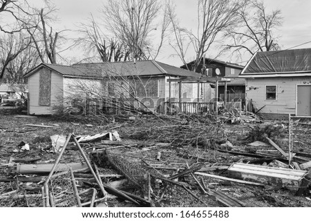 Tornado Storm Damage XIV - Catastrophic Wind Damage from a Midwest Tornado - stock photo