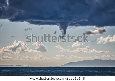 Tornados over mediterranean sea in a sunny winter day - stock photo