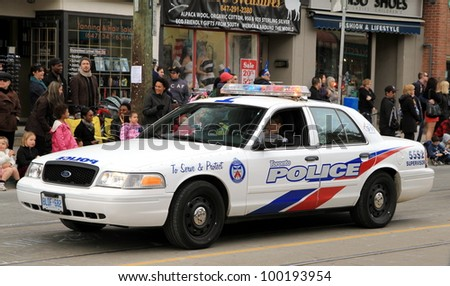 TORONTO - APRIL 8: A police vehicle on April 8, 2012 in Toronto. The Toronto Police is the largest municipal police service in Canada and second largest police force in Canada after the RCMP. - stock photo