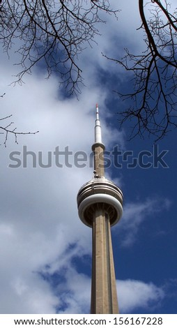 TORONTO, April 14: Icon of Toronto's skyline since its completion in 1976, the CN Tower is the tallest free-standing structure in the Western Hemisphere, taken on April 14, 2013 in Toronto, Canada - stock photo
