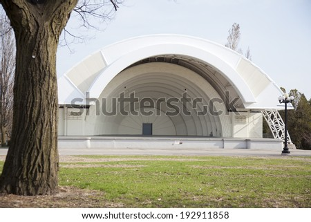 TORONTO - AUGUST 6: The Bandshell amphitheater on August 6, 2012 in Toronto. Inspired by the Hollywood Bowl, the Art Deco-styled Bandshell on the CNE grounds was built in 1936. - stock photo