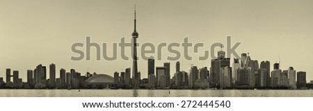 Toronto black and white over lake panorama with urban skyline. - stock photo