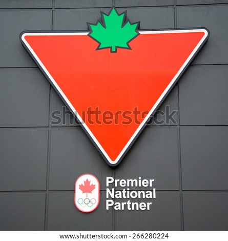TORONTO,CANADA-APRIL 2,2015: Canadian Tire Corporation, Limited is a Canadian retail company which sells a wide range items; the company is an Olympic Premier National Partner - stock photo