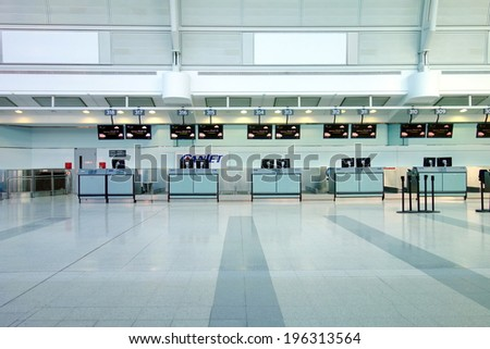 TORONTO, CANADA - APRIL 9, 2014: Check-in counters area at the Pearson Airport in Toronto, Canada.  - stock photo