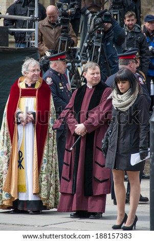 Toronto, Canada-April 16, 2014: Douglas Stoute, Dean of St. James Cathedral. Scenes of the State Funeral for Jim Flaherty, former Minister of Finace of Canada, held at St. James Cathedral in Toronto