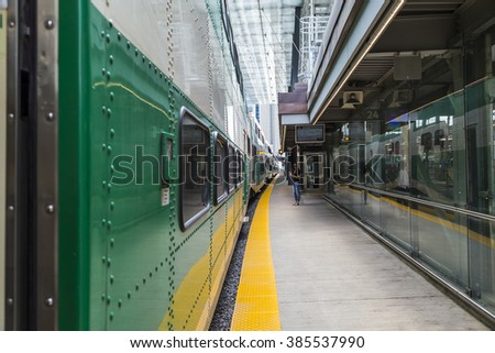 TORONTO, CANADA - APRIL 05 2015 : GO Transit Train, the Government of Ontario Operated Train Service in the renovated and historic Union Station Downtown Toronto