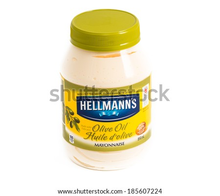 TORONTO, CANADA-APRIL 4,2014: Hellman's is popular brand for Mayo. Hellmann�s was founded in 1905, committed to the principles of using only real, simple ingredients � like eggs, oil and vinegar.
