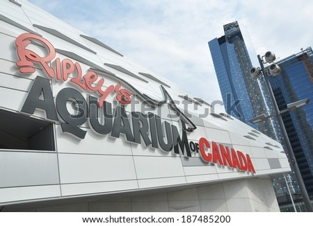 Toronto, Canada - April 13, 2014: Ripley�s Aquarium of Canada is the newest attraction in the heart of downtown Toronto. This must visit place is Canada�s largest indoor aquarium. - stock photo