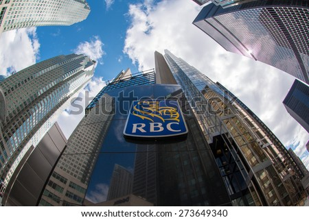 TORONTO,CANADA-APRIL 24,2015:Royal Bank of Canada sign at the entrance of the company tower in Downtown Toronto, the bank is the largest financial institution with about 18 million clients - stock photo
