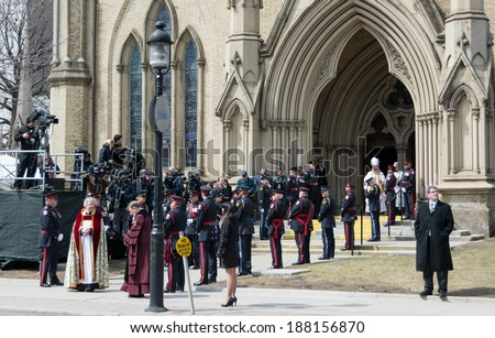 Toronto, Canada-April 16, 2014: Scenes of the State Funeral for Jim Flaherty, former Minister of Finace of Canada, held at St. James Cathedral in Toronto