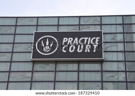 Toronto, Canada - April 13, 2014: Sign of practice court of NBA's Toronto Raptors at the Air Canada Centre. - stock photo