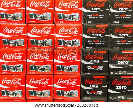 TORONTO,CANADA-APRIL 4,2015: Stacks Coca Cola Zero and Coca Cola Diet can boxes in a store, Coca-Cola is a carbonated soft drink sold in stores, restaurants, and vending machines throughout the world - stock photo