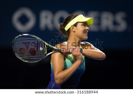 TORONTO, CANADA - AUGUST 13 :  Ana Ivanovic in action at the 2015 Rogers Cup WTA Premier 5 tennis tournament - stock photo