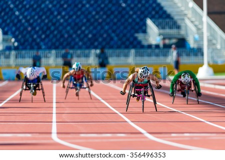 TORONTO,CANADA-AUGUST 8,2015: Athletics in Toronto 2015 Parapan Am Games: Jessica Lewis from Bermuda sets new Parapan Am Record and wins the first ever medal for Bermuda