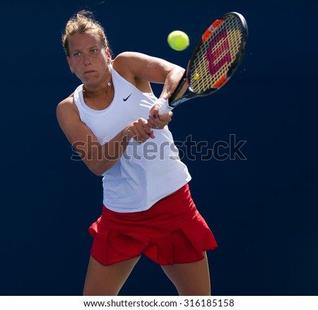 TORONTO, CANADA - AUGUST 11 :  Barbora Strycova in action at the 2015 Rogers Cup WTA Premier 5 tennis tournament