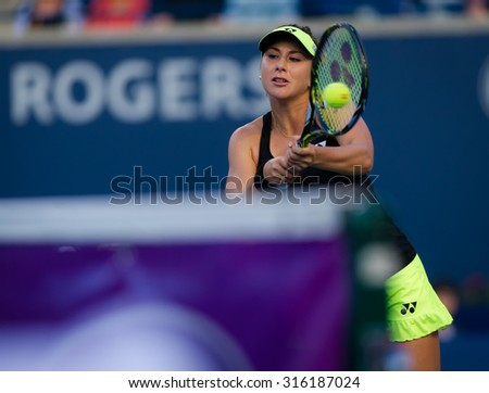 TORONTO, CANADA - AUGUST 11 :  Belinda Bencic in action at the 2015 Rogers Cup WTA Premier 5 tennis tournament
