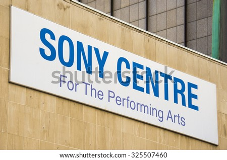 TORONTO,CANADA-AUGUST 12,2015: Sony Centre sign.The Sony Centre for the Performing Arts is  major performing arts venue.The Sony Centre for the Performing Arts is Canadaâ??s largest soft-seat theatre.