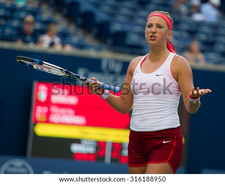 TORONTO, CANADA - AUGUST 13 :  Victoria Azarenka in action at the 2015 Rogers Cup WTA Premier 5 tennis tournament