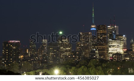 TORONTO - CANADA â?? CIRCA MAY 2016: Cityscape of the Toronto skyline by night