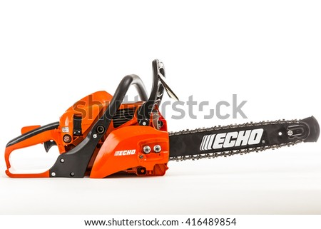 TORONTO, CANADA - DECEMBER 29, 2015 : Echo Brand Chainsaw Illustrative Editorial on Bright Background