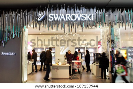 TORONTO, CANADA - DECEMBER 23, 2013: Swarovski store on December 23, 2013 in Toronto, Ontario, Canada. Swarovski is an Austrian producer of luxury cut lead glass (crystal). - stock photo