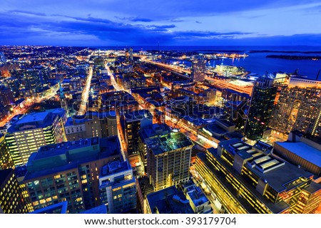 TORONTO CANADA 5.FEB. 2016:Aerial view of Toronto Downtown Core at night. Toronto is the most populous city in Canada and the provincial capital of Ontario. (GTA) which contains 6.2 million people. - stock photo