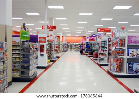 TORONTO, CANADA  - FEBRUARY 11, 2014: A Target store on February 11, 2014 in Toronto, Canada.  - stock photo