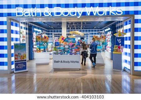 TORONTO,CANADA-FEBRUARY 8,2016:Bath & Body Works store entrance. Bath & Body Works, LLC is an American retail store under the L Brands  umbrella. It was founded in 1990 in New Albany, Ohio