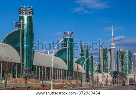 TORONTO, CANADA - February 06, 2016: Enercare Centre at Exhibition Place.  Enercare Centre is largest exhibition centre in Toronto and is selected to host the 2016 NBA Jam Session from Feb. 14, 2016.