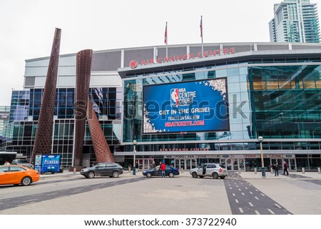 TORONTO, CANADA - FEBRUARY 6, 2016: Entrance of Air Canada Centre (ACC). ACC is a multi-purpose indoor sporting arena in Toronto. The NBA All-Star Game will take place in ACC on February 14, 2016. - stock photo