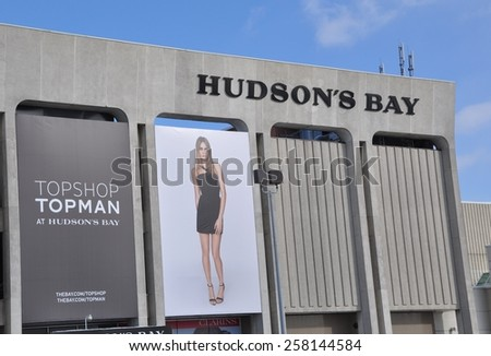 Toronto, Canada - February 24, 2015: Hudson's Bay mall at Yorkdale shopping center. - stock photo