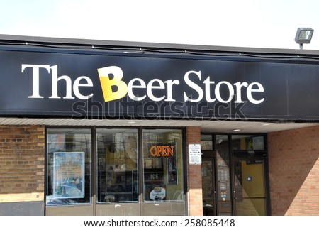Toronto, Canada - February 24, 2015: Sign of The Beer Store.  - stock photo