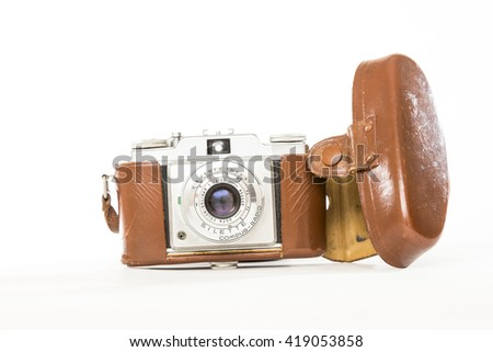TORONTO, CANADA - FEBRUARY 17, 2016 : Vintage Camera Photography Gear in Bright Studio for Illustrative Editorial image