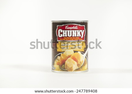 Toronto, Canada - January 27 2015 : A can of Campbell's Chunky Soup of the Chicken and Vegetable Variety Shown on a bright background - stock photo