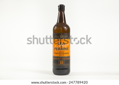 Toronto, Canada - January 27 2015 : A large glass bottle of Lea & Perrins Worcestershire Sauce shown on a bright background - stock photo