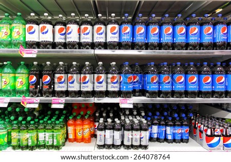 TORONTO, CANADA - JANUARY 16, 2015: Bottled soft drinks on shelves in a supermarket. In recent years, the consumption of sweetened beverages has been doubled in North America.