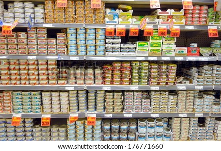 TORONTO, CANADA - JANUARY 31, 2014: Canned food products in a supermarket in Toronto, Canada. - stock photo