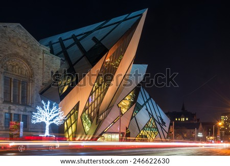 TORONTO,CANADA-JANUARY 23,2013: The Royal Ontario Museum is a museum of world culture and natural history, It is one largest museums in North America, attracting over one million visitors every year - stock photo