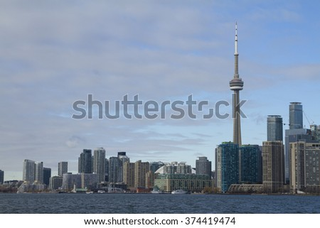 Toronto, Canada - January 28, 2016: Toronto skyline from lake, Ontario, Canada.