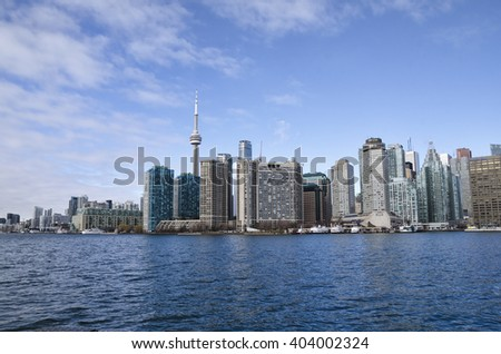 Toronto, Canada - January 27, 2016: Toronto skyline from lake, Ontario, Canada.