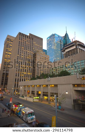 TORONTO,CANADA-JULY 9,2015: A view of  downtown toronto, the third city with most skyscrapers in North America exceeding 200 metres (656 ft) in heigth. - stock photo