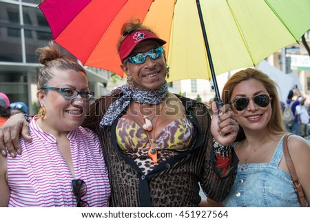 TORONTO,CANADA-JULY 3,2016: Pride Month, colorful multicultural people partaking in the first ever month long celebration of diversity and inclusion.