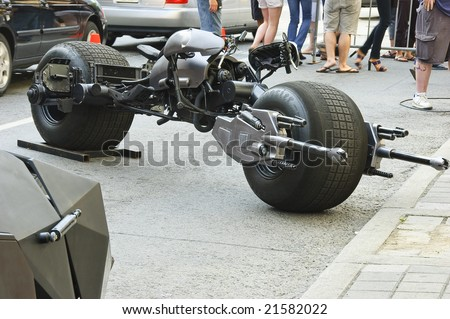 TORONTO, CANADA, JULY 11, 2008 - The batpod motorcycle used in the Batman sequel The Dark Knight gives a taste of Hollywood to the city crowds during a promotional campaign.