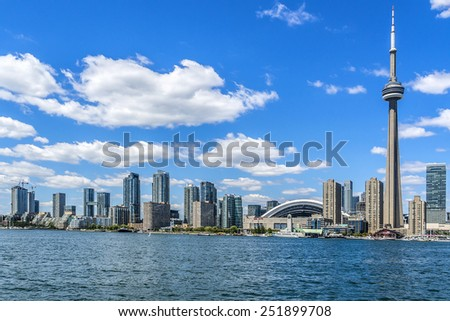 TORONTO, CANADA - JULY 23, 2014: The beautiful Toronto's skyline with CN Tower over lake. Urban architecture. Ontario.