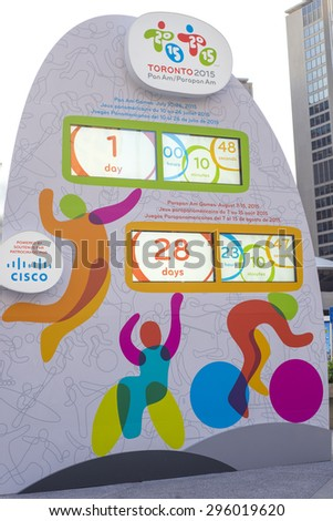 TORONTO,CANADA-JULY 9,2015: The countdown clock marking the time left until the opening ceremony of the PanAm games installed in Nathan Phillips Square. - stock photo
