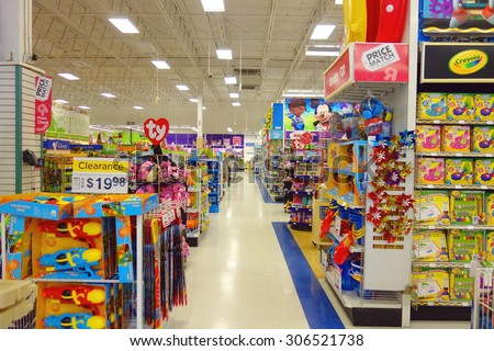 "TORONTO, CANADA - JULY 27, 2015: The inside of a Toys ""R"" Us store in Toronto, Canada.  - stock photo"